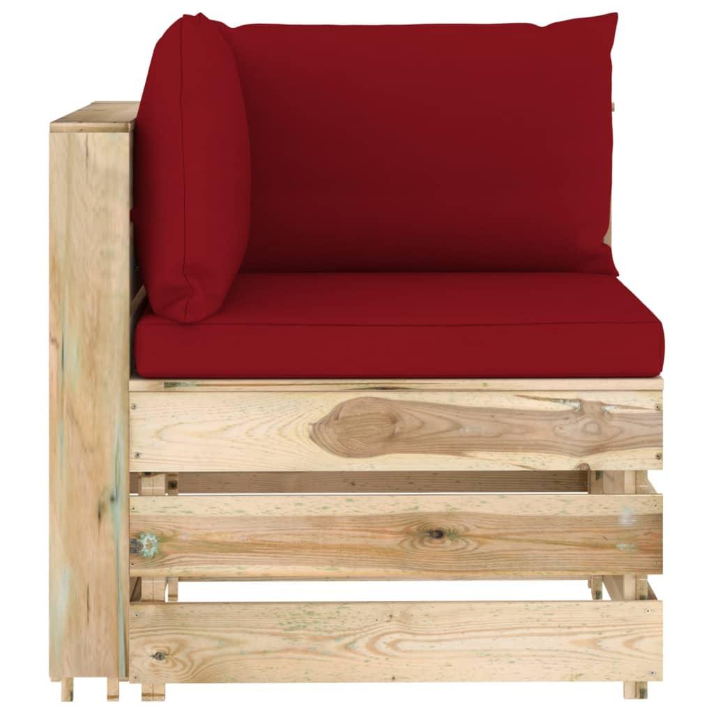 7-delige Loungeset met kussens groen geïmpregneerd hout