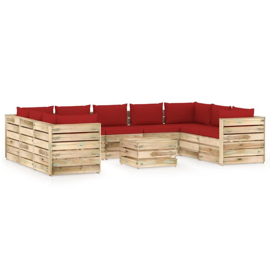 10-tlg. Garten-Lounge-Set mit Kissen Grün Imprägniertes Holz