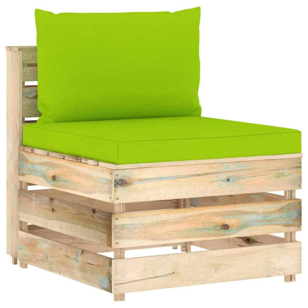 vidaXL 8-delige Loungeset met kussens groen geïmpregneerd hout