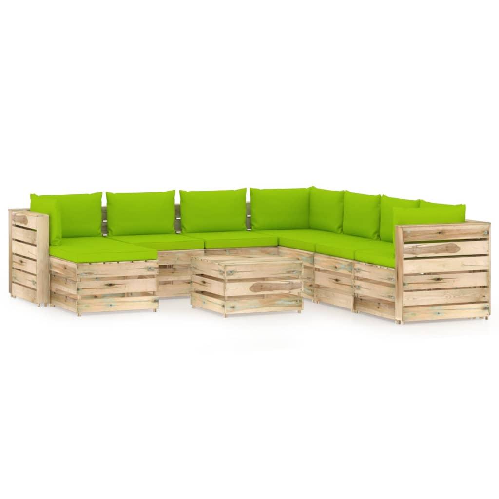vidaXL 9-delige Loungeset met kussens groen geïmpregneerd hout