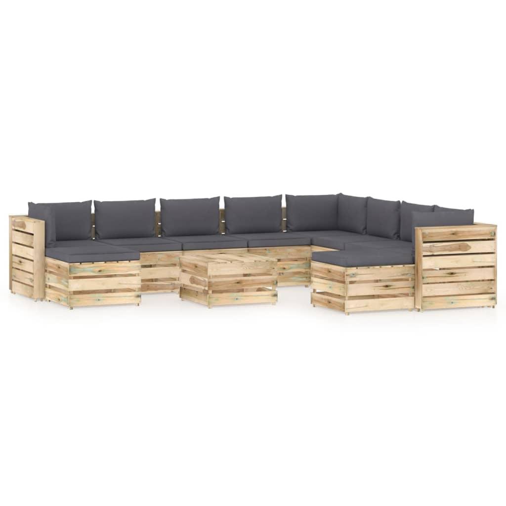 vidaXL 11-delige Loungeset met kussens groen geïmpregneerd hout