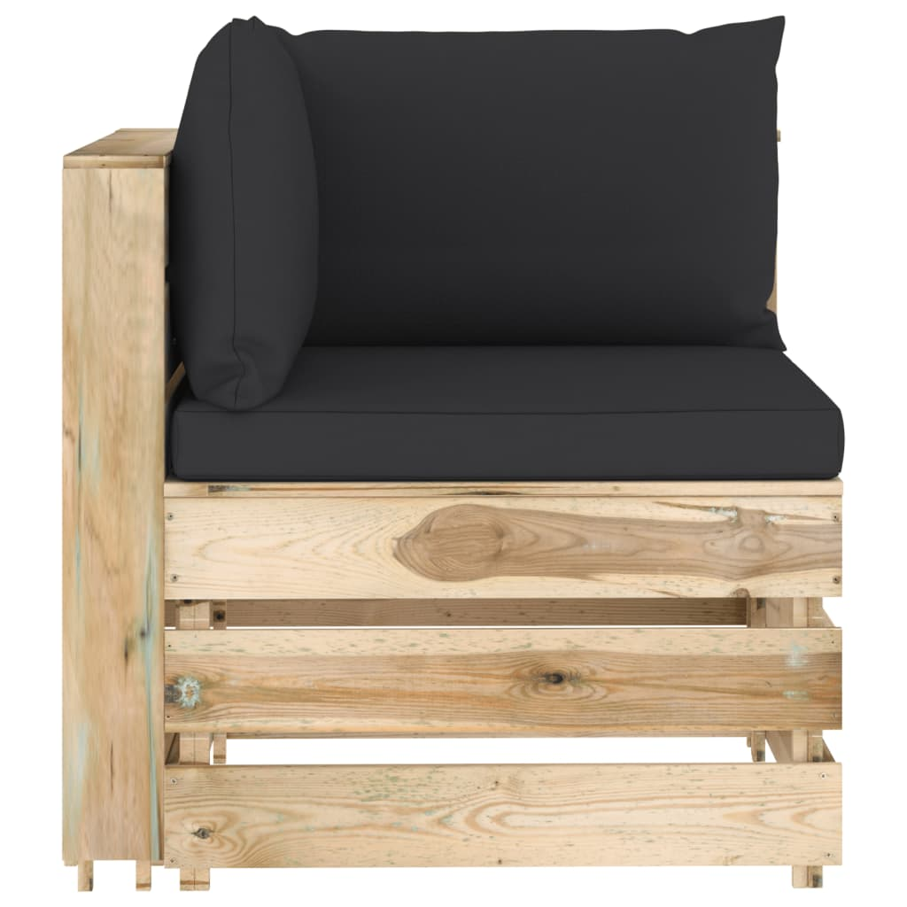 12-delige Loungeset met kussens groen geïmpregneerd hout