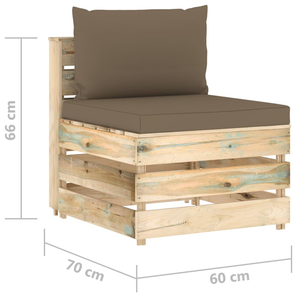 8-delige Loungeset met kussens groen geïmpregneerd hout