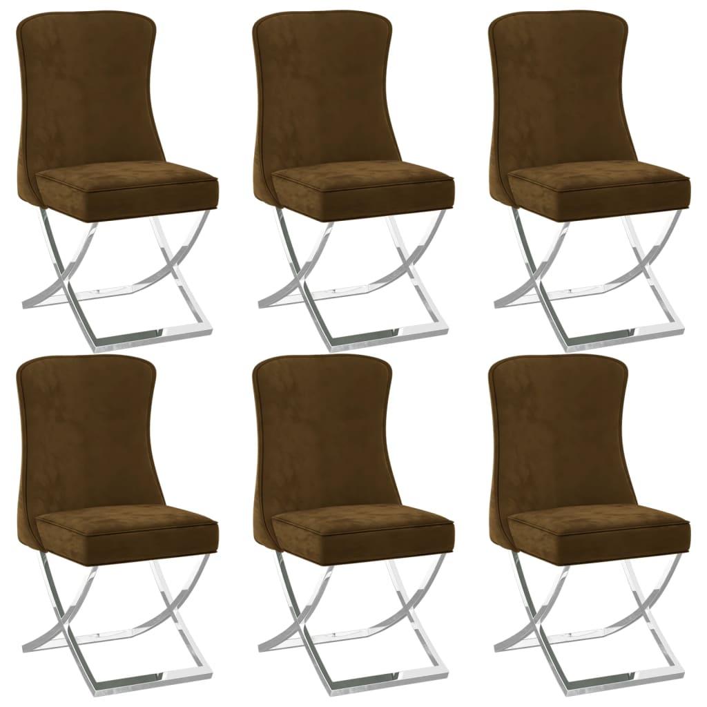 vidaXL spisebordsstole 6 stk. 53x52x98 cm fløjl brun