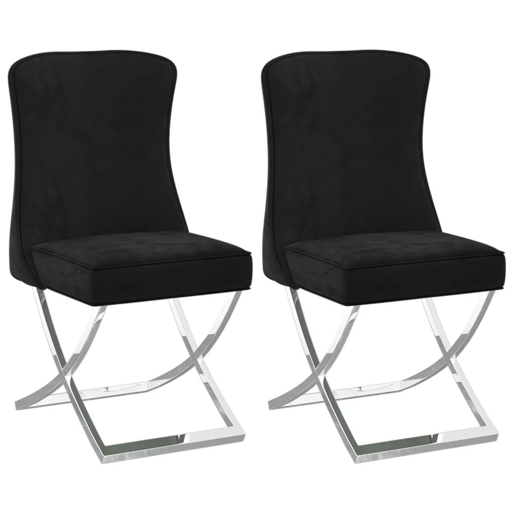 vidaXL Blagovaonske stolice 2 kom crne 53x52x98 cm od baršuna i čelika