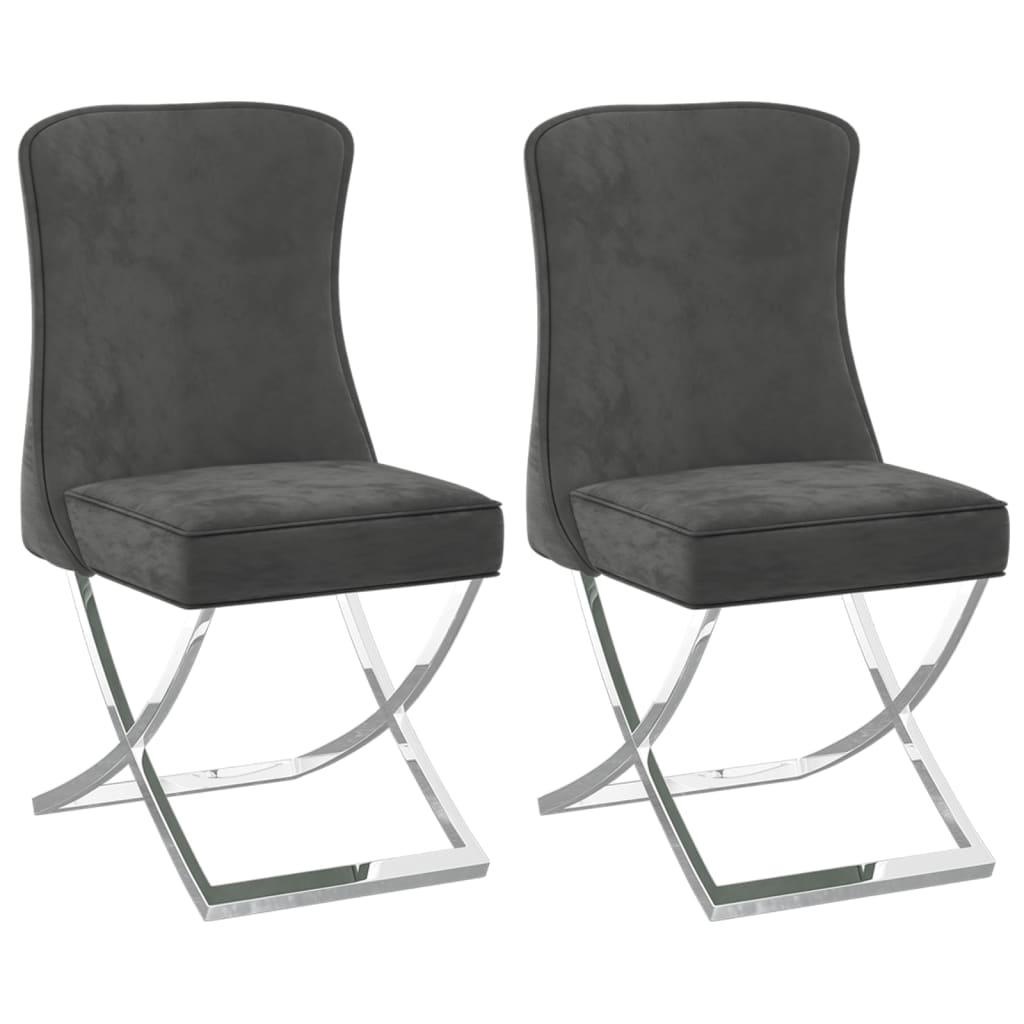 vidaXL Blagovaonske stolice 2 kom sive 53x52x98 cm od baršuna i čelika