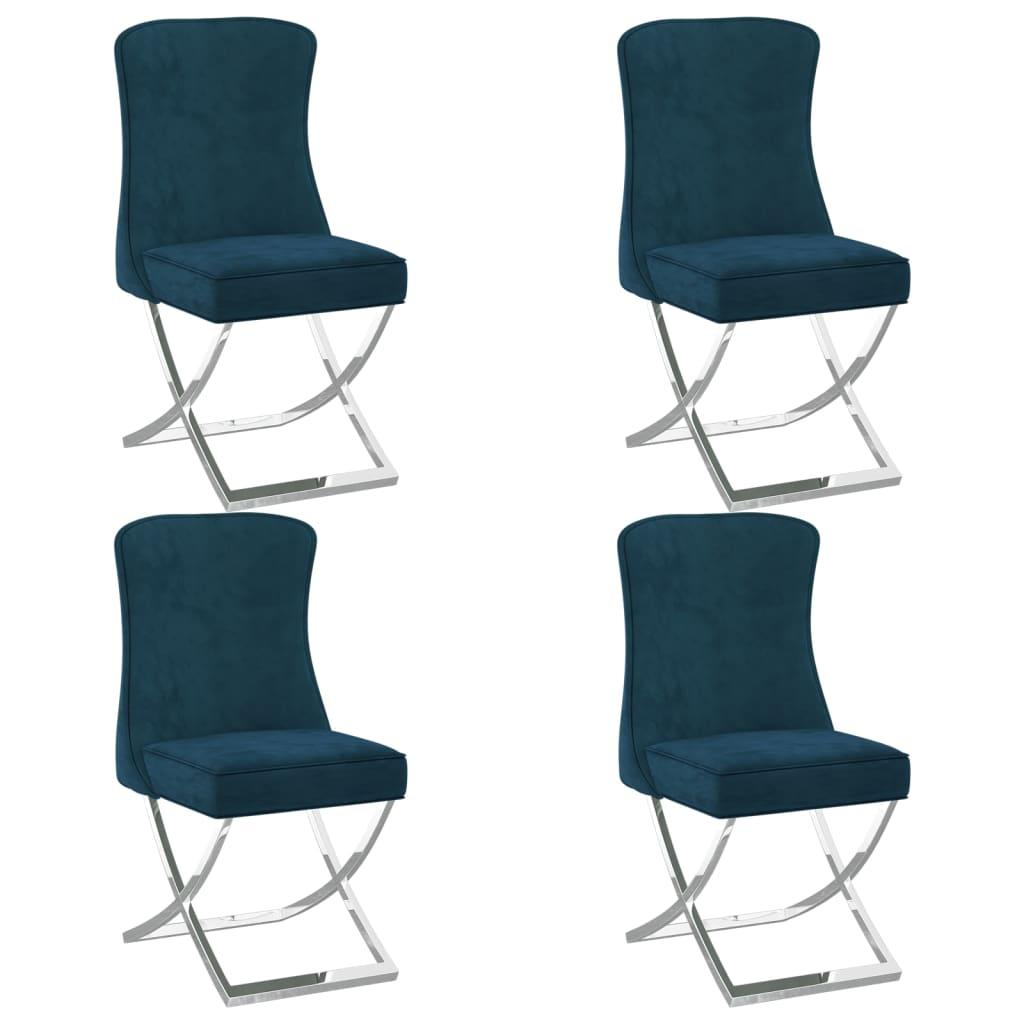 vidaXL spisebordsstole 4 stk. 53x52x98 cm fløjl blå