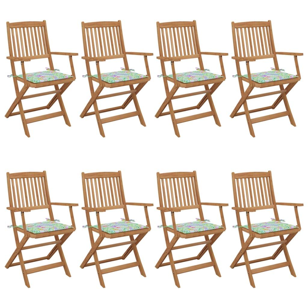 <ul><li>Stuhl-Material: Massives Akazienholz mit Ölfinish</li><li>Kissen-Material: Stoff (100% Polyester)</li><li>Stuhlmaße: 54 x 57 x 91 cm (B x T x H)</li><li>Kissenmaße: 40 x 40 x 4 cm (L x B x T)</li><li>Klappstuhl </li><li>Auflage mit Blattmuster</li><li>Sitzkissen mit je 2 Bindebändern an 2 Ecken zur Befestigung am Stuhl</li><li>Montage erforderlich: Ja</li><li><strong>Lieferung enthält:</strong></li><li>8 x Klappstühle</li><li>8 x Sitzpolster</li></ul>