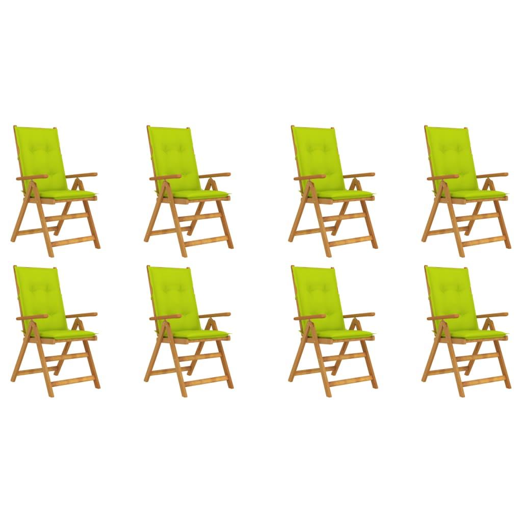 <ul><li>Kissenfarbe: Hellgrün</li><li>Stuhl-Material: Massives Akazienholz mit Ölfinish</li><li>Kissen-Material: Stoff (100% Polyester)</li><li>Abmessungen des Stuhls: 57 x 69 x 111 cm (B x T x H)</li><li>Abmessungen der Auflage: 120 x 50 x 7 cm (L x B x H)</li><li>Klappbar für einfache Lagerung und Transport</li><li>Auflage verfügt über 1 Gummiband und je 2 Bänder an zwei Ecken</li><li>Montage erforderlich: Ja</li><li><strong>Lieferung enthält:</strong></li><li>8 x Gartenstuhl</li><li>8 x Kissen</li></ul>