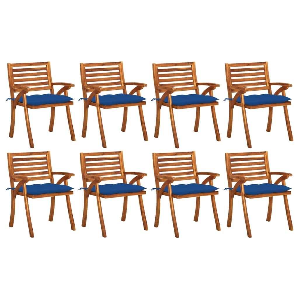 <ul><li>Polster-Farbe: Blau</li><li>Stuhl-Material: Massives Akazienholz mit Ölfinish</li><li>Kissen-Material: Stoff (100% Polyester)</li><li>Abmessungen des Stuhls: 59 x 59 x 87 cm (B x T x H)</li><li>Abmessungen des Kissens: 50 x 50 x 7 cm (L x B x T)</li><li>Für den Innen- und Außenbereich geeignet</li><li>Mit 2 Bänder-Sets</li><li>Montage erforderlich: Ja</li><li><strong>Lieferung enthält:</strong></li><li>8 x Stühle</li><li>8 x Kissen</li></ul>