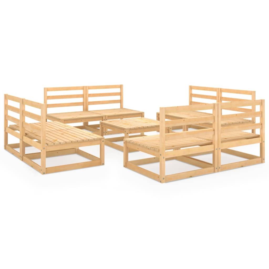 vidaXL 9-tlg. Garten-Lounge-Set Kiefer Massivholz