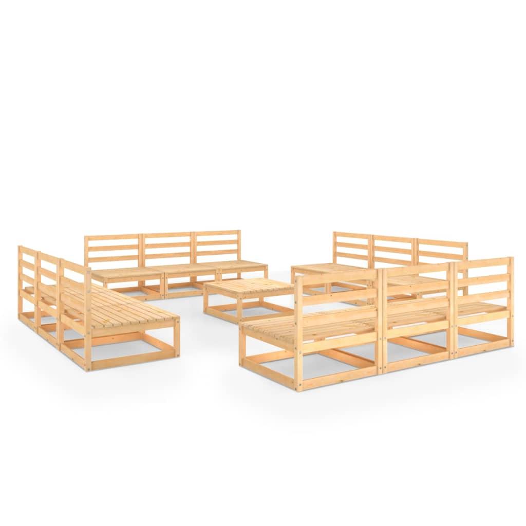 vidaXL 13-tlg. Garten-Lounge-Set Massivholz Kiefer
