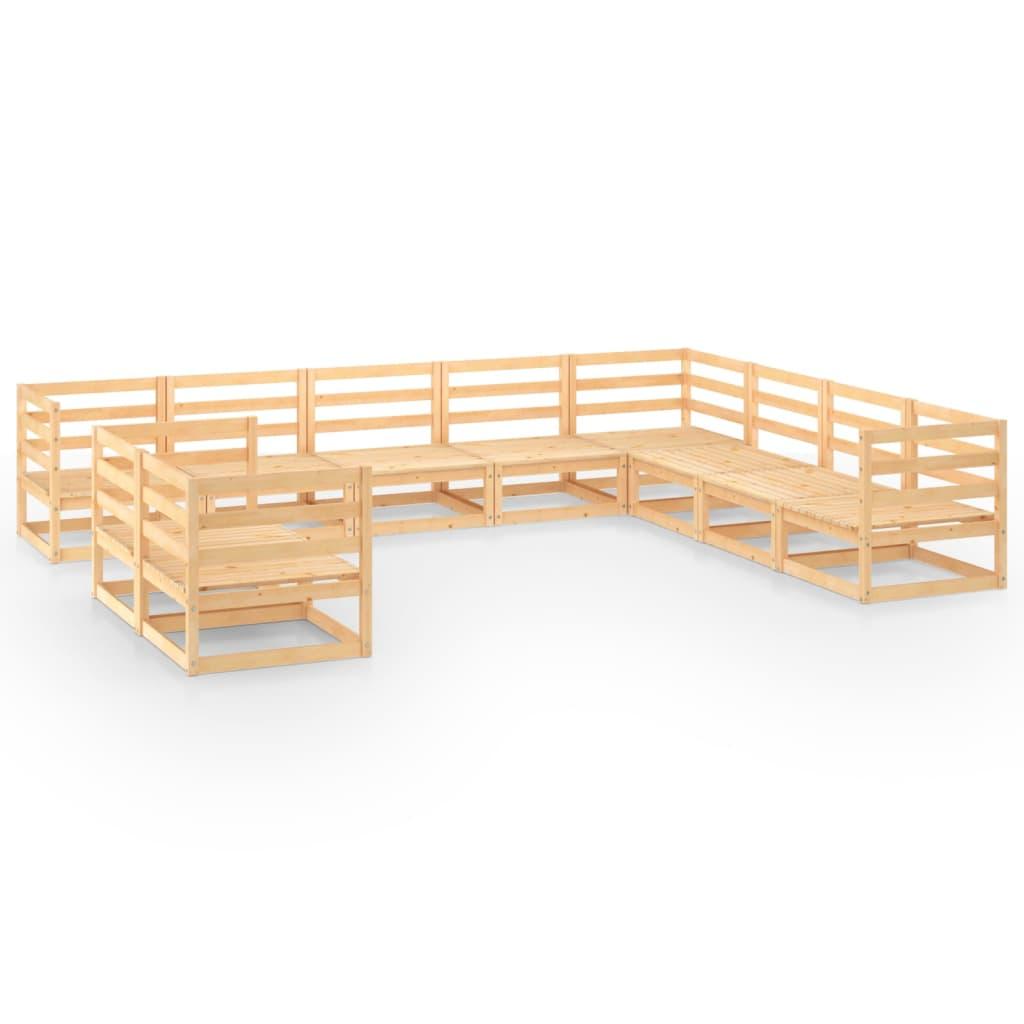10-tlg. Garten-Lounge-Set Massivholz Kiefer