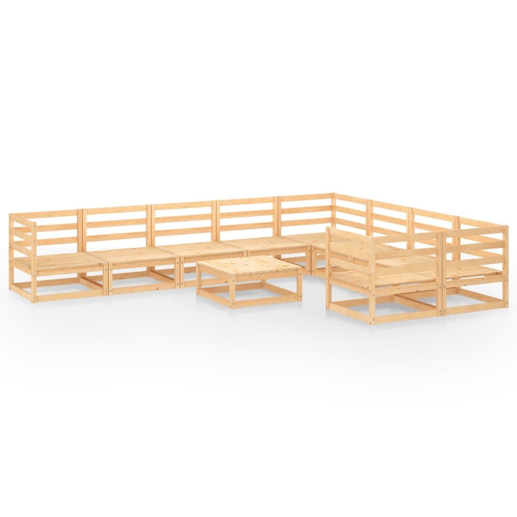 10-delige Loungeset massief grenenhout
