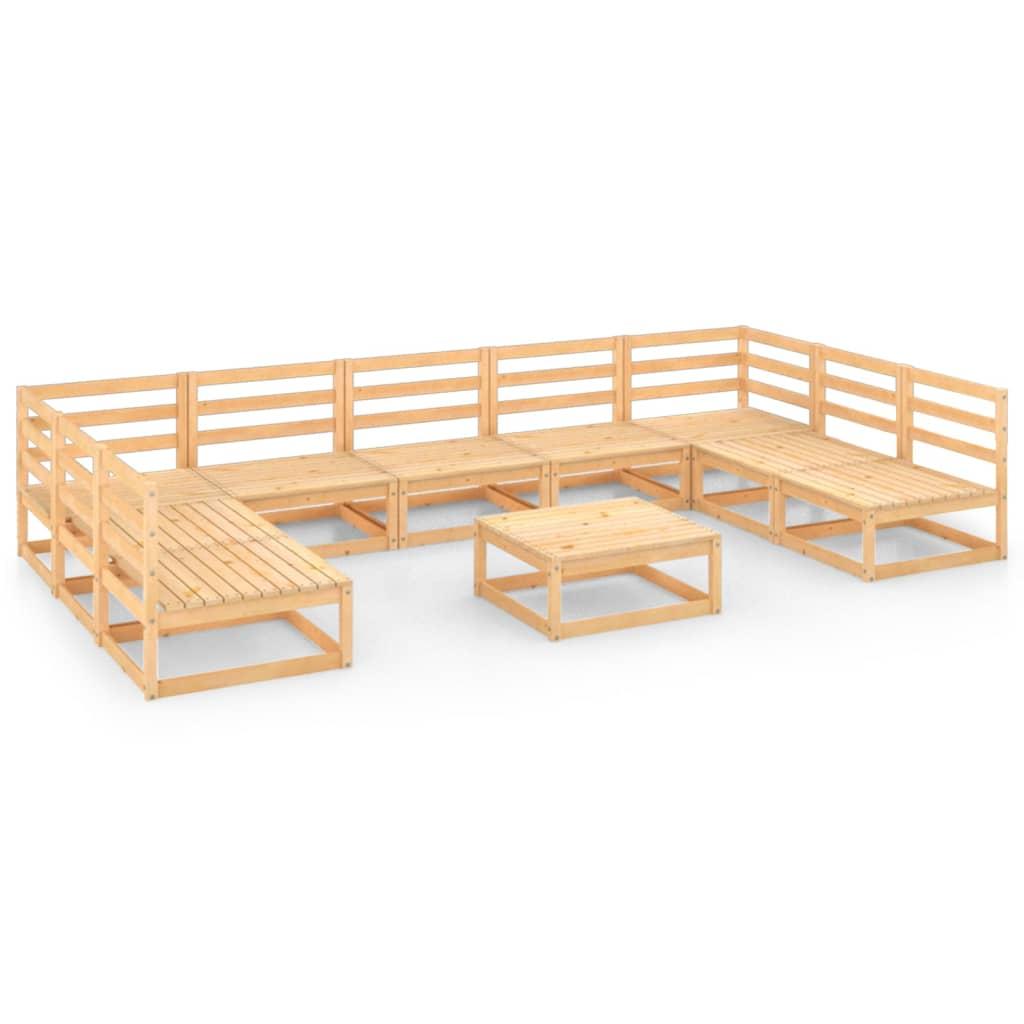 vidaXL 10-tlg. Garten-Lounge-Set Massivholz Kiefer
