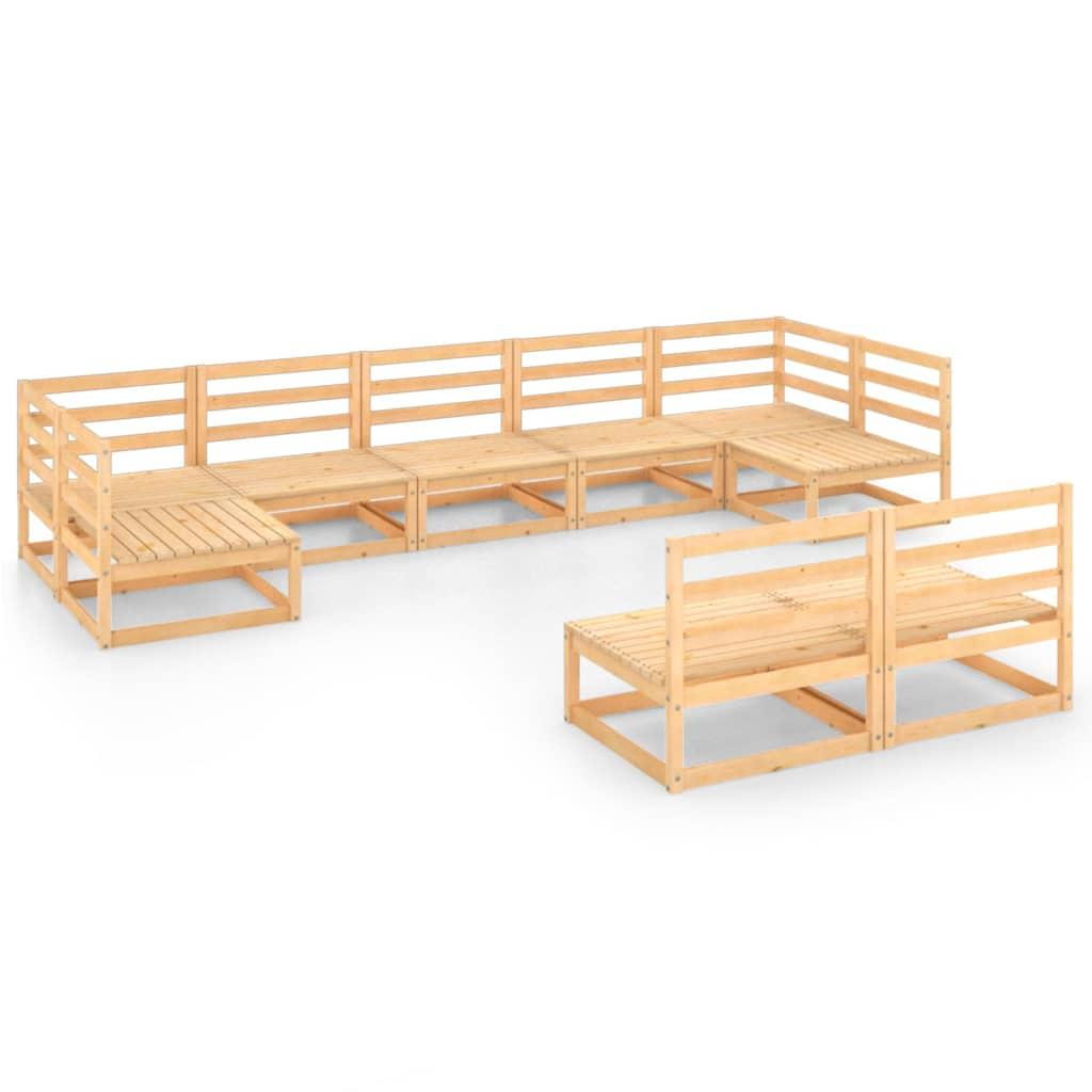 9-delige Loungeset massief grenenhout
