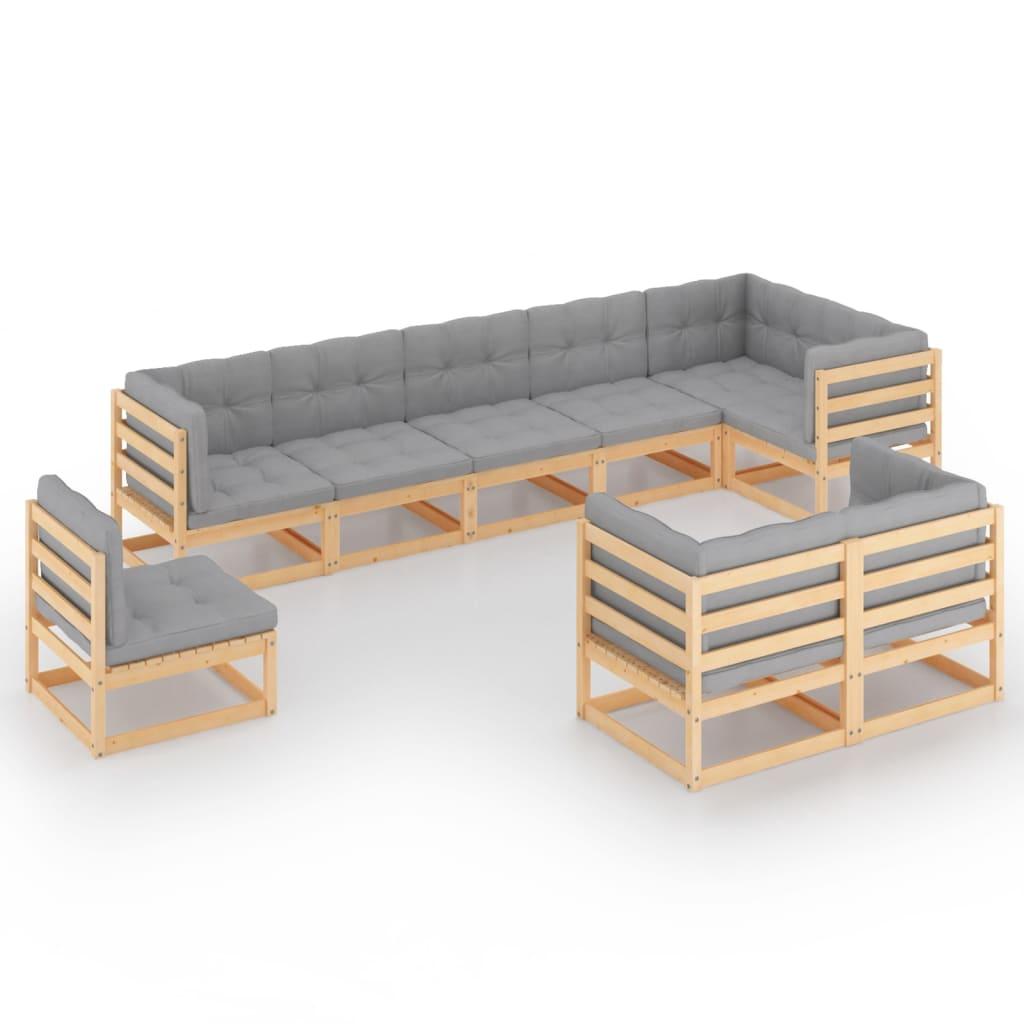 vidaXL 9-delige Loungeset met kussens massief grenenhout