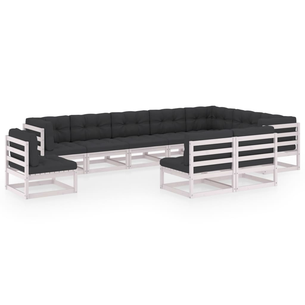 10-tlg. Garten-Lounge-Set mit Kissen Weiß Kiefer Massivholz