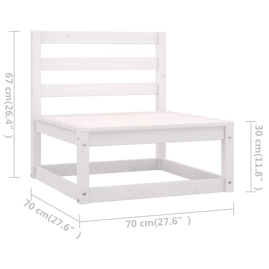 13-osaline aiamööbli komplekt istmepatjadega, valge, männipuit