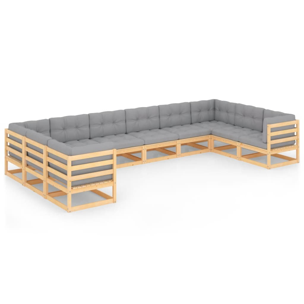 10-tlg. Garten-Lounge-Set mit Kissen Kiefer Massivholz