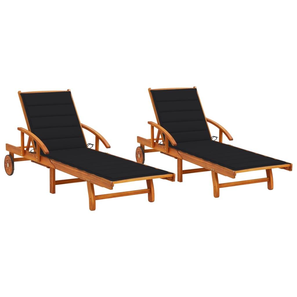 Ligstoelen 2 st met kussens massief acaciahout