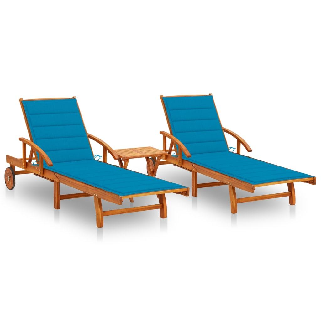 Ligstoelen 2 st met tafel en kussens massief acaciahout