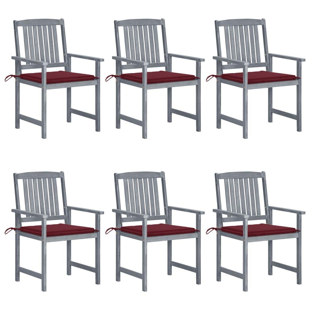 vidaXL Gartenstühle mit Kissen 6 Stk. Massivholz Akazie Grau