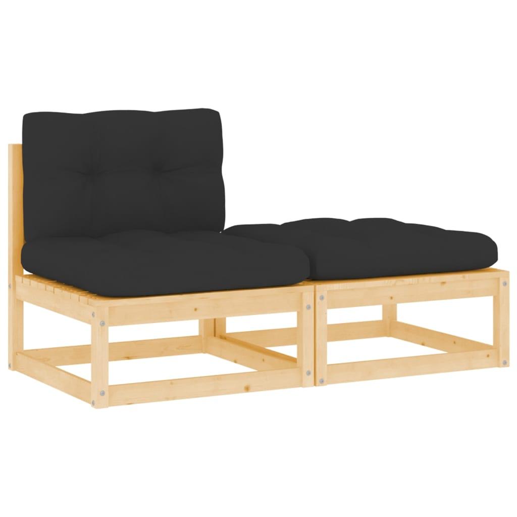 2-tlg. Garten-Lounge-Set mit Kissen Massivholz Kiefer