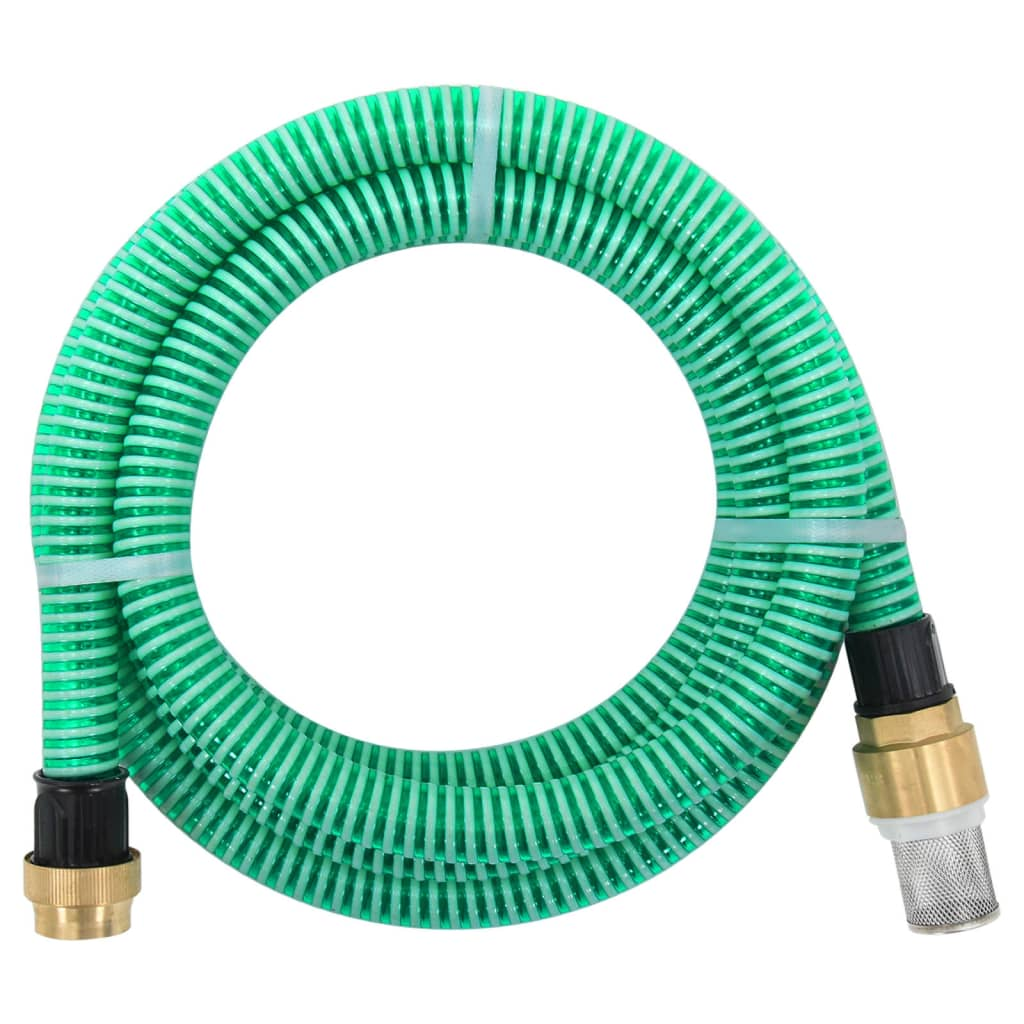 vidaXL Zuigslang met messing koppelingen 25 m 25 mm groen
