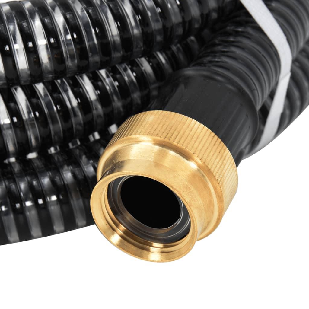 vidaXL Zuigslang met messing koppelingen 3 m 25 mm zwart