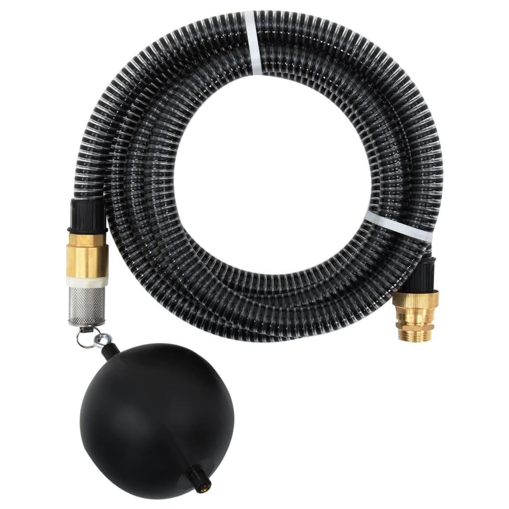 vidaXL Zuigslang met messing koppelingen 4 m 25 mm zwart