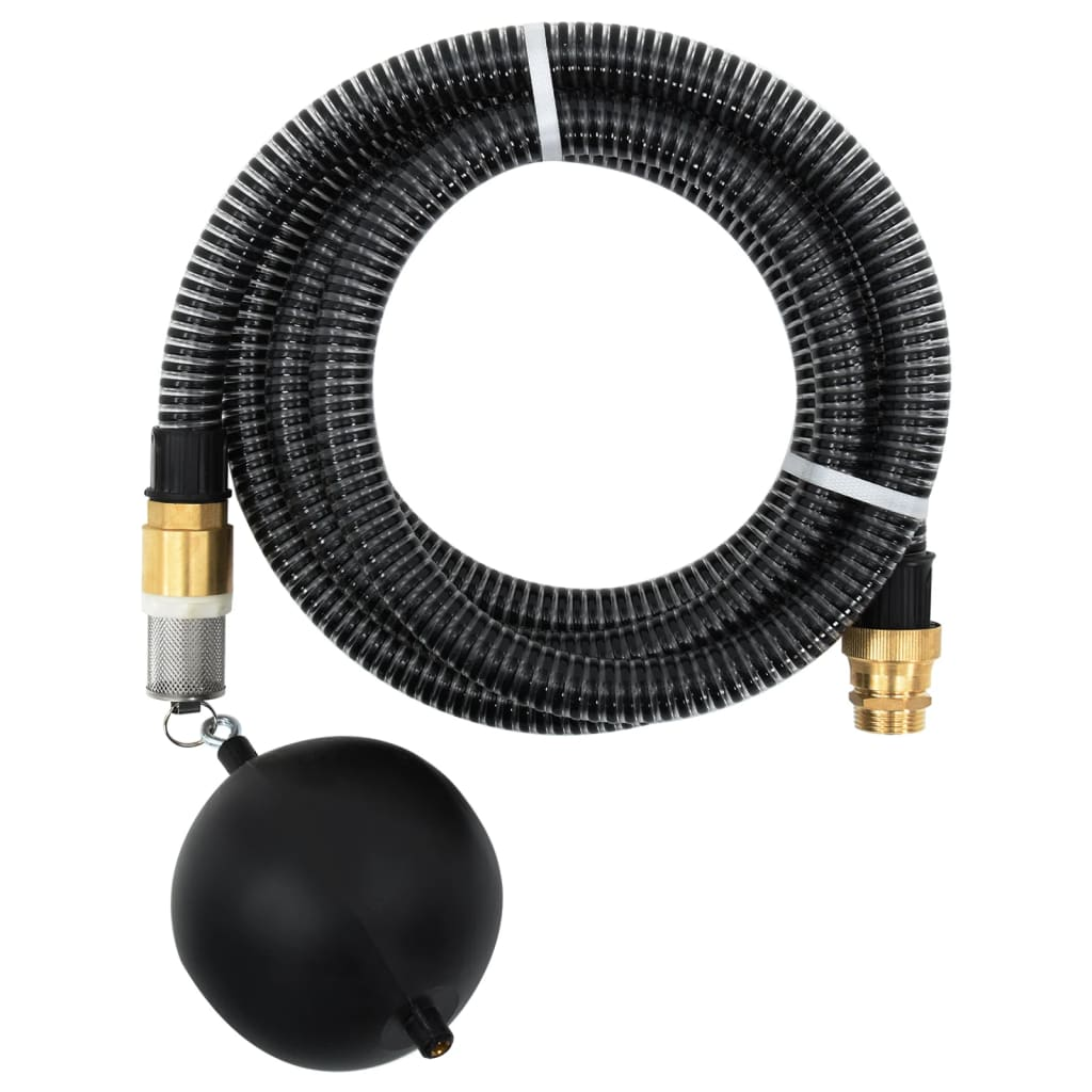 vidaXL Zuigslang met messing koppelingen 10 m 25 mm zwart