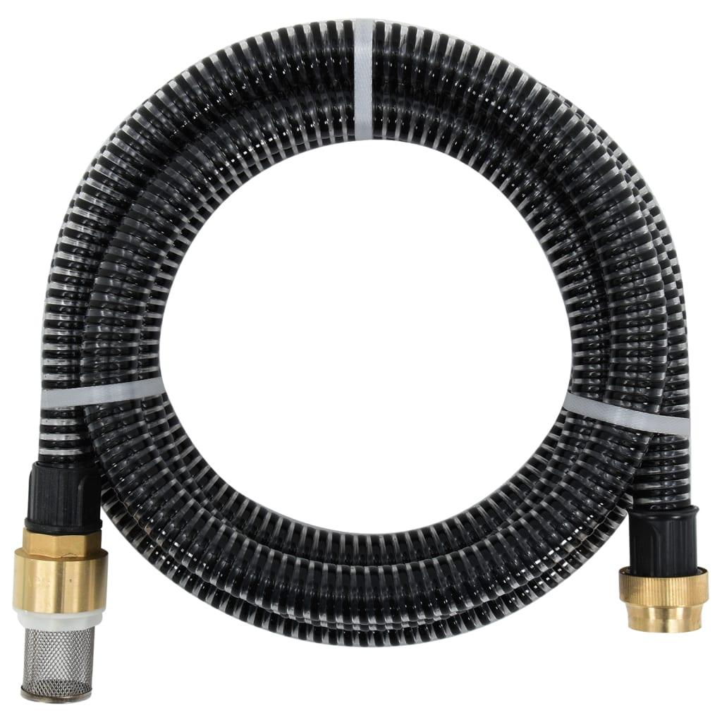 vidaXL Zuigslang met messing koppelingen 15 m 25 mm zwart