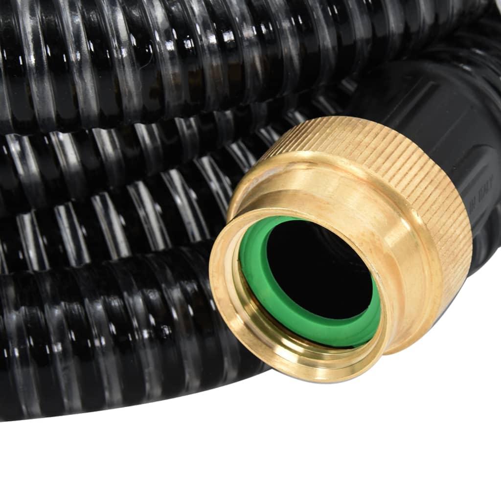 vidaXL Zuigslang met messing koppelingen 20 m 25 mm zwart