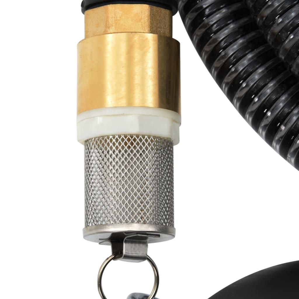 vidaXL Zuigslang met messing koppelingen 25 m 25 mm zwart