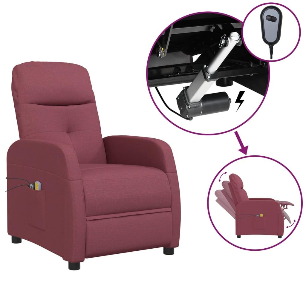 vidaXL Električni masažni naslonjač od tkanine crvena boja vina