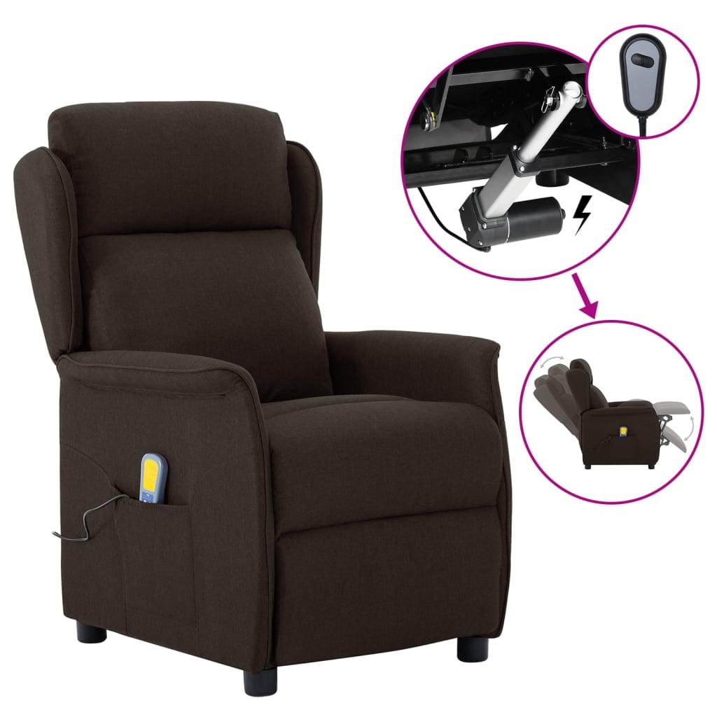 vidaXL Električni masažni naslonjač od tkanine tamnosmeđi