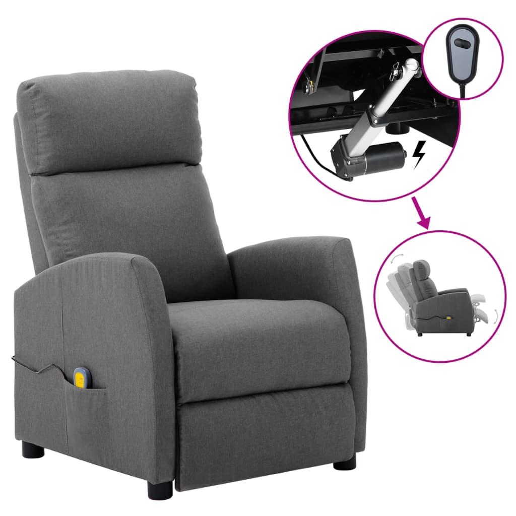 vidaXL Električni masažni naslonjač od tkanine svjetlosivi