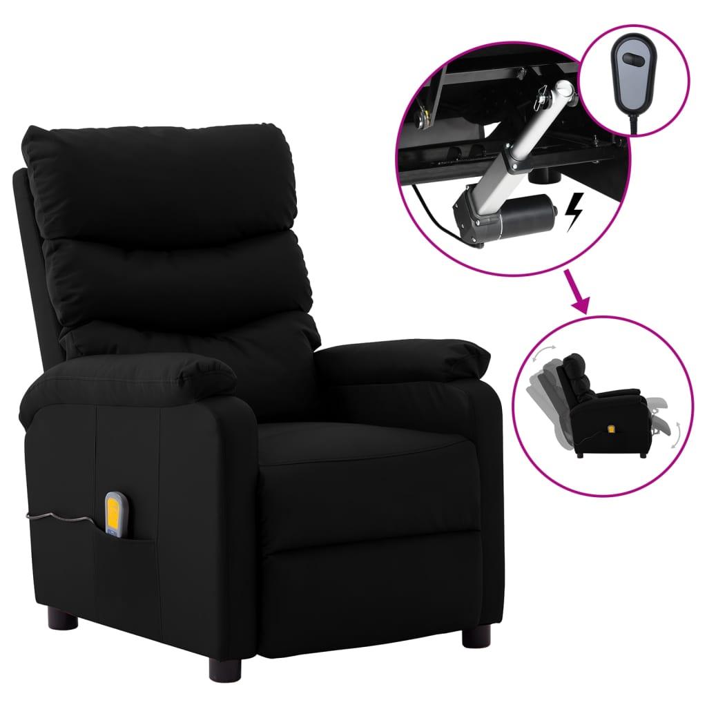 vidaXL Električni masažni naslonjač od umjetne kože crni