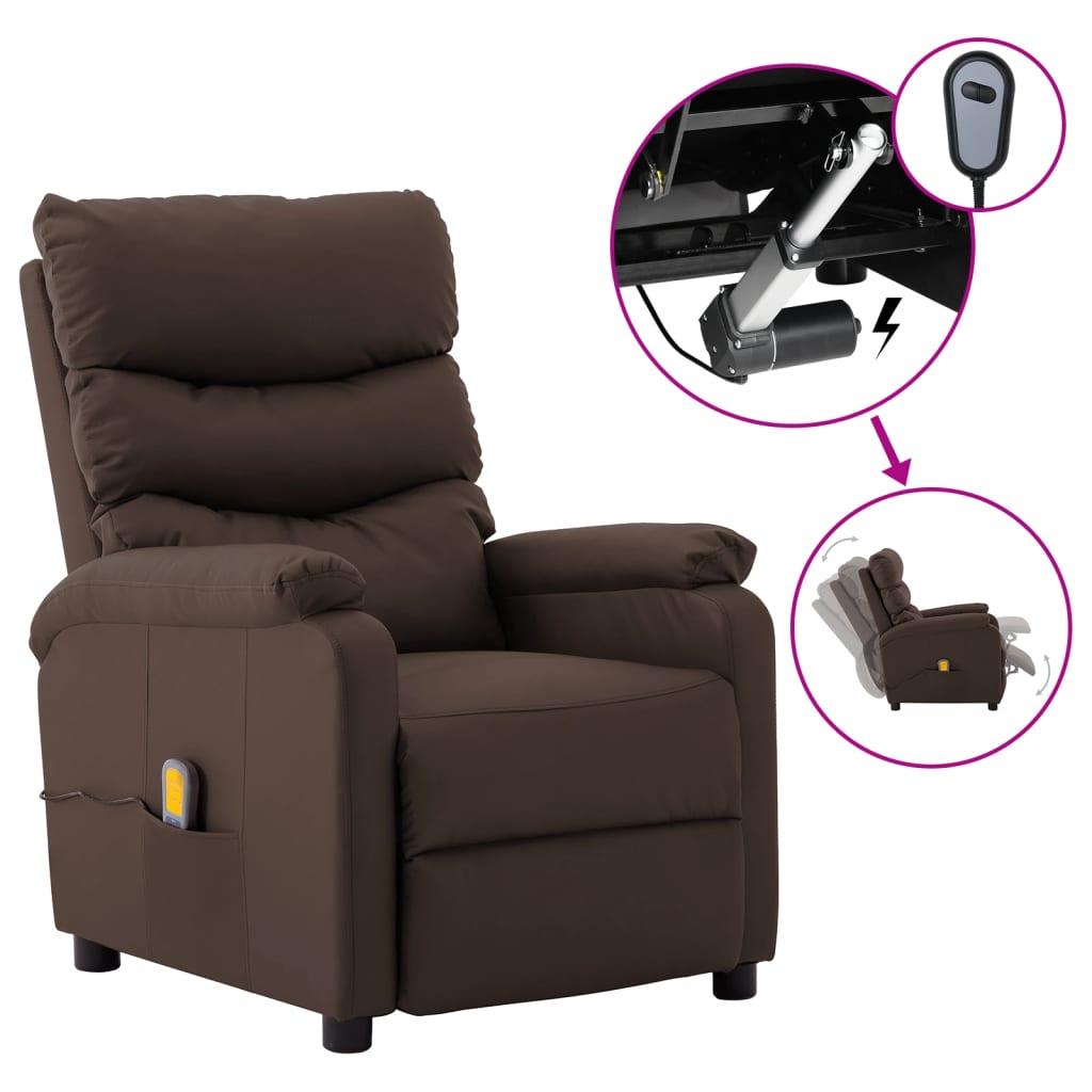 vidaXL Električni masažni naslonjač od umjetne kože smeđi