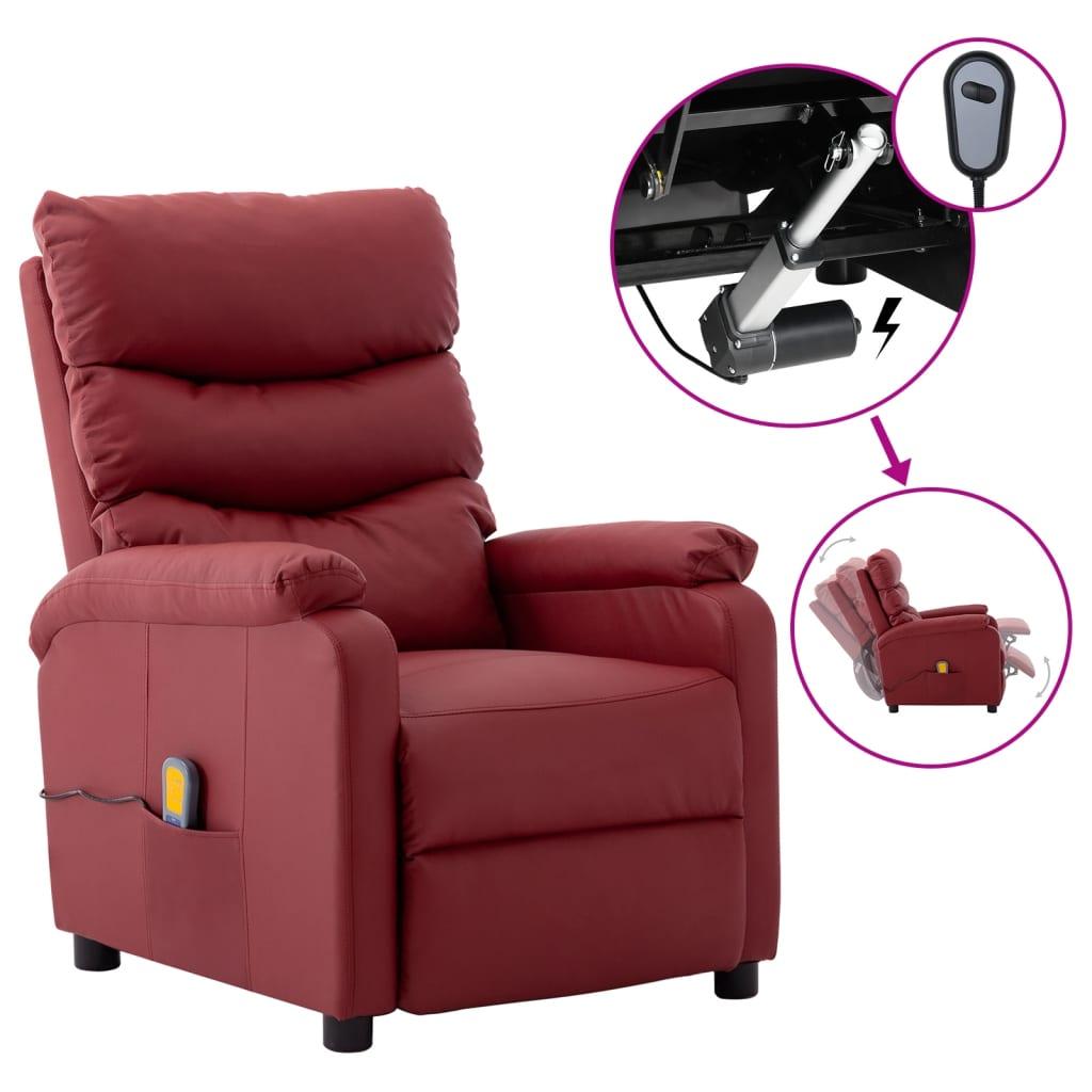 vidaXL Električni masažni naslonjač od umjetne kože crvena boje vina