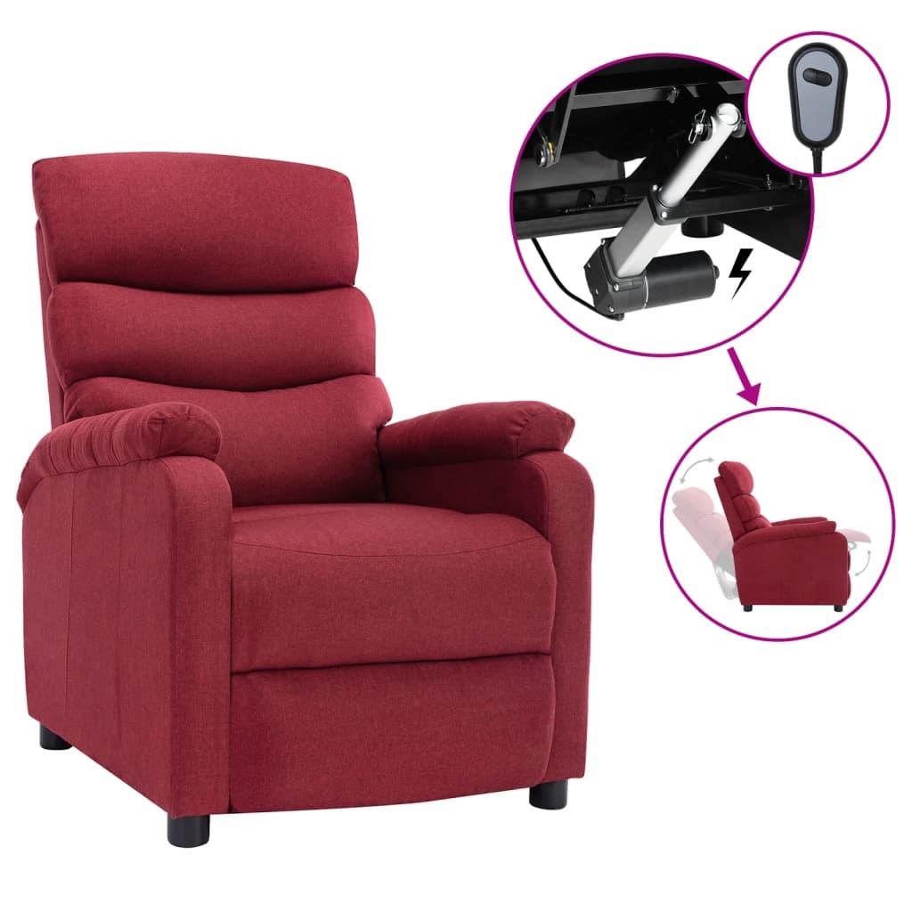 vidaXL Električni naslonjač od tkanine crvena boja vina