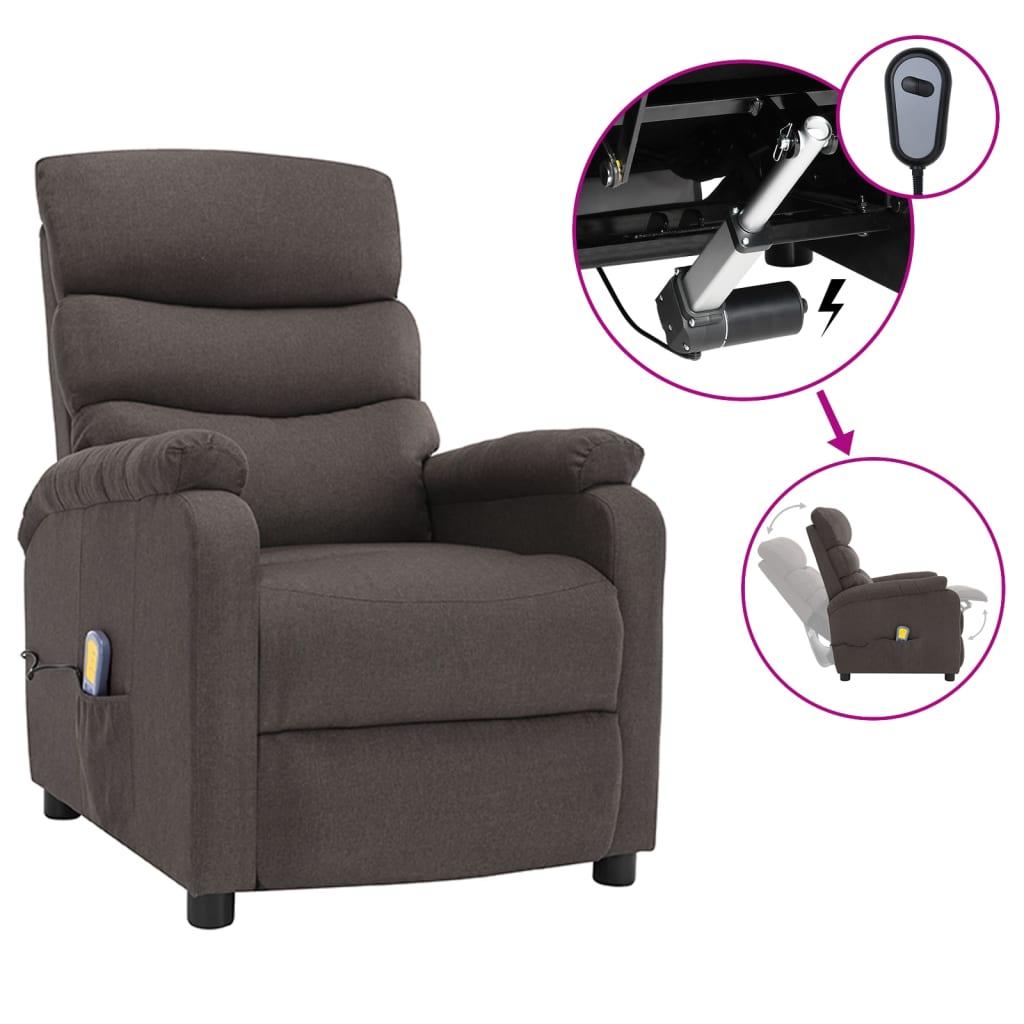 vidaXL Električni masažni naslonjač od tkanine smeđe-sivi