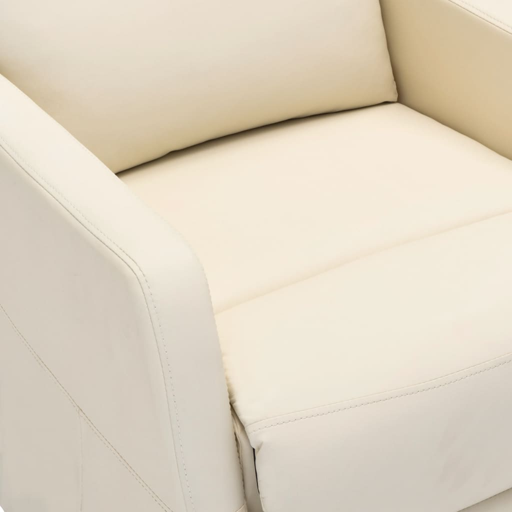 vidaXL Električni naslonjač od umjetne kože krem-bijeli