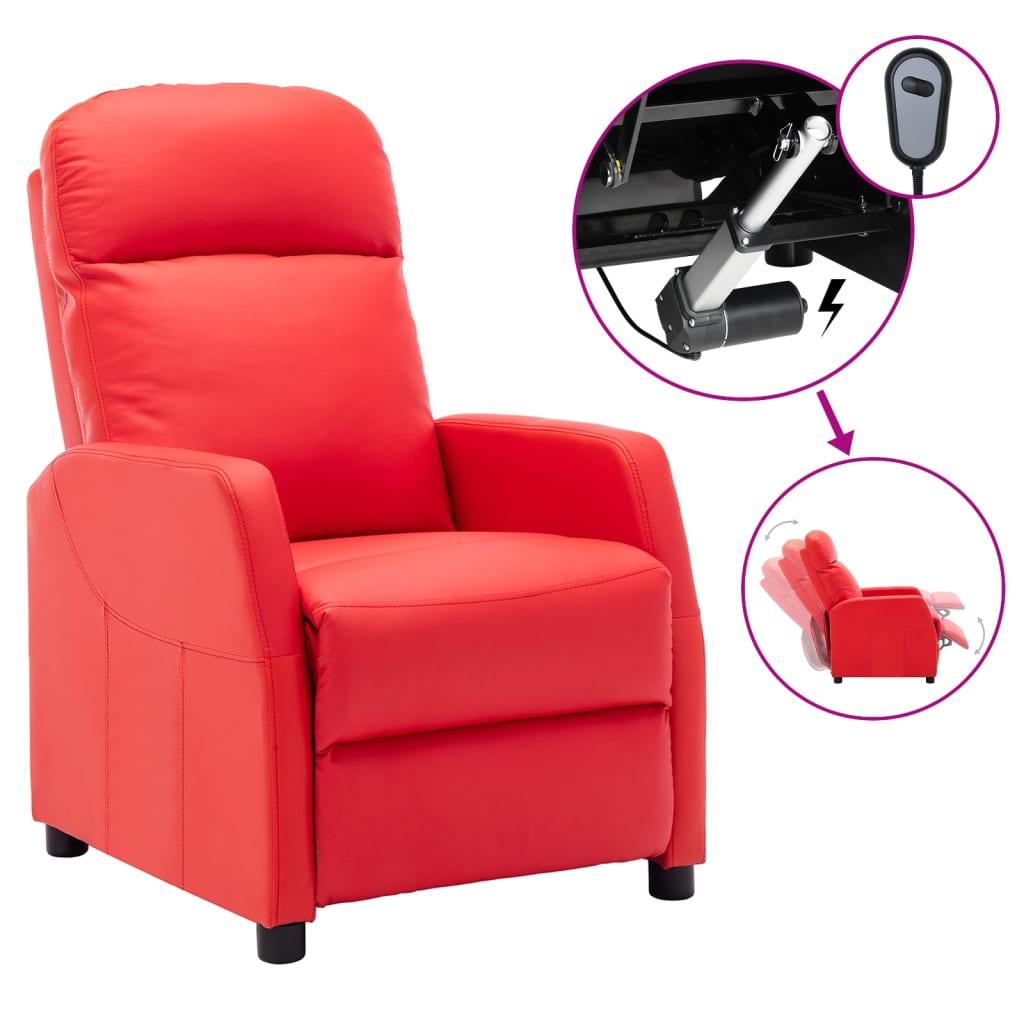 vidaXL Električni naslonjač od umjetne kože crveni