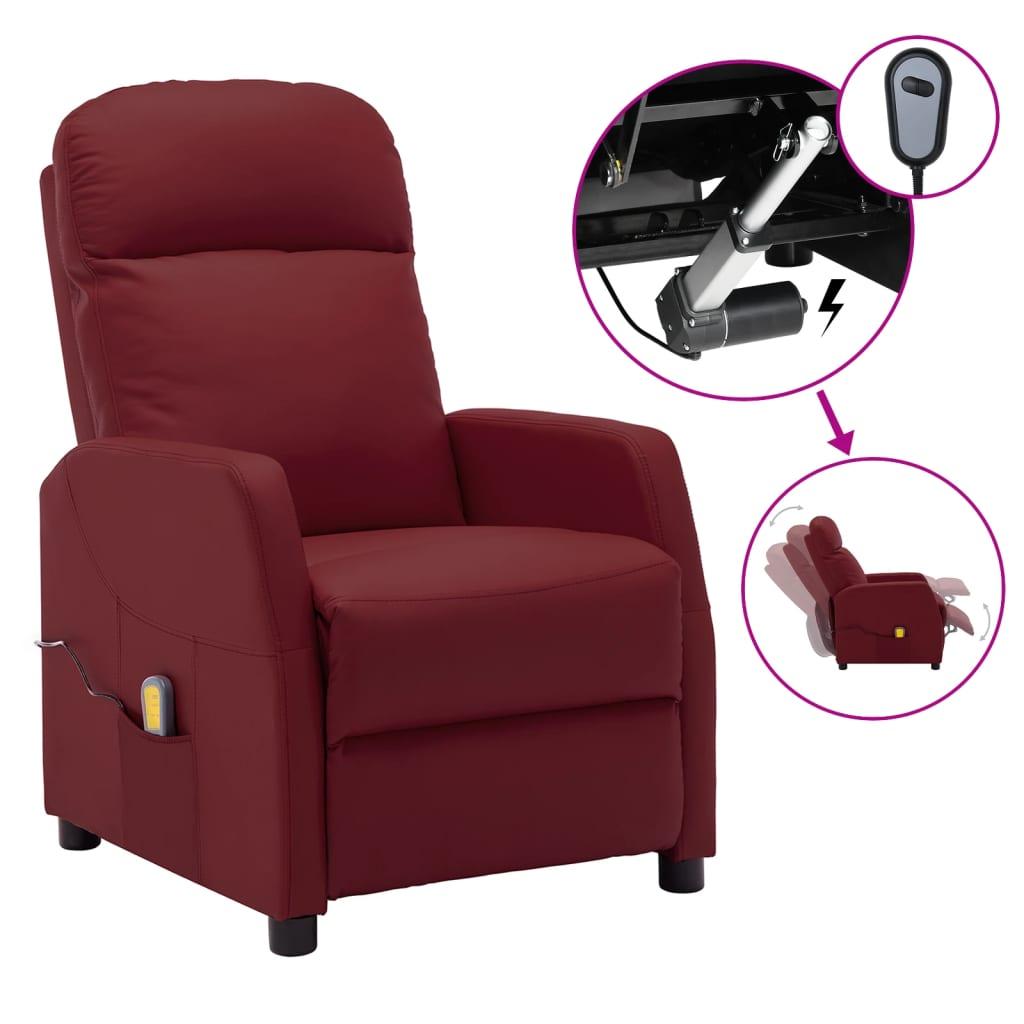 vidaXL Električni masažni naslonjač od umjetne kože crvena boja vina