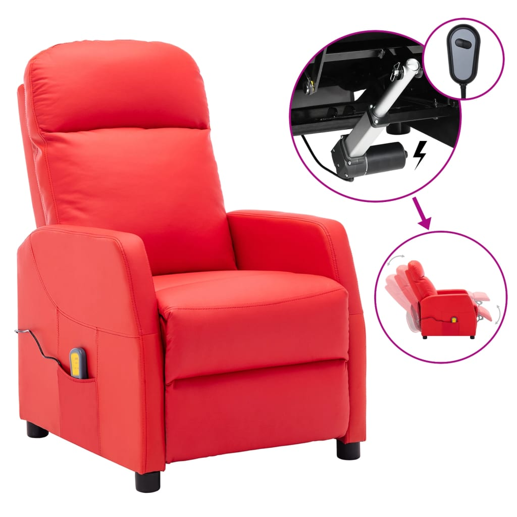 vidaXL Električni masažni naslonjač od umjetne kože crveni