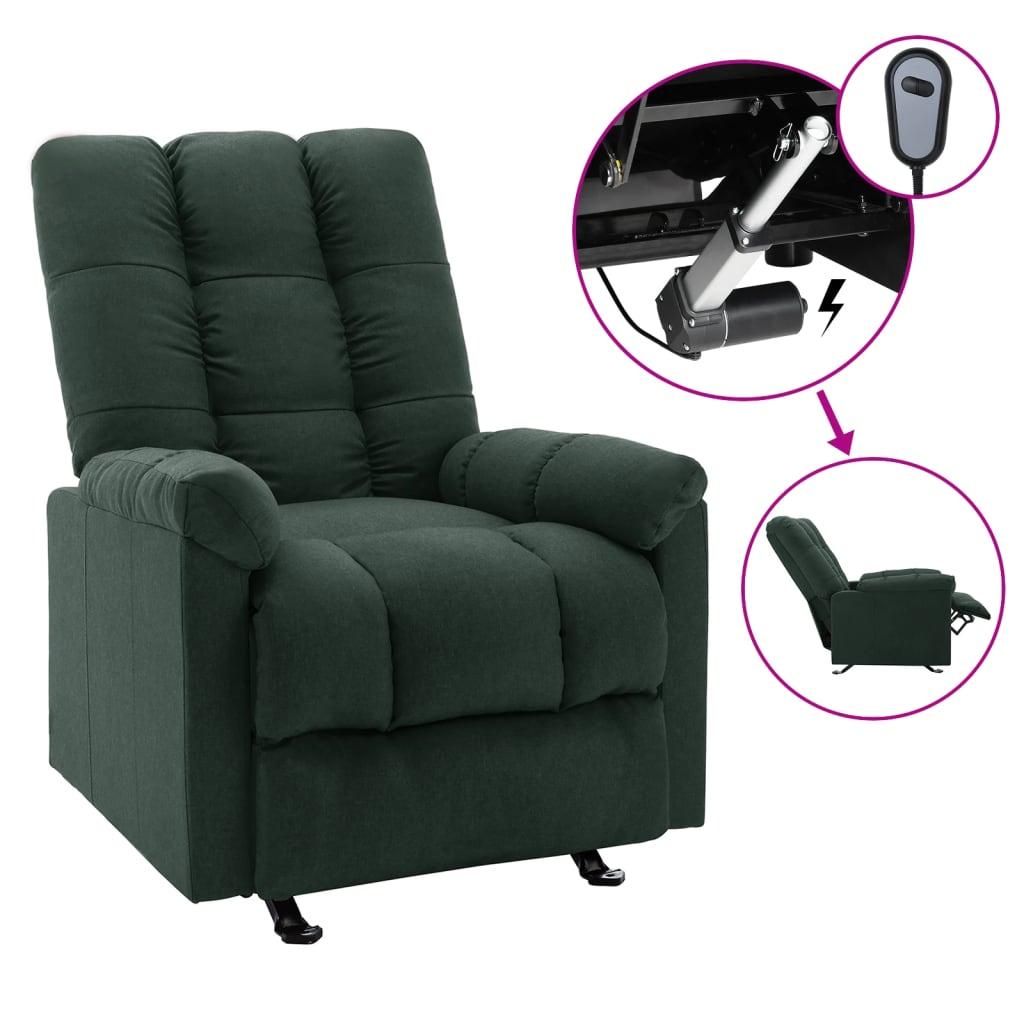 <ul><li>Farbe: Dunkelgrün</li><li>Material: Stoff (100% Polyester), Sperrholz, Metall</li><li>Gesamtabmessungen: 71,5 x 96,5 x 100,5 cm (B x T x H)</li><li>Sitzgröße: 43 x 56,5 cm (B x T)</li><li>Sitzhöhe vom Boden: 48 cm</li><li>Armlehnenhöhe vom Boden: 59 cm</li><li>Eingang: 100 - 240 V~, 50 - 60 Hz</li><li>Ausgang: DC 28 V</li><li>Verstellbare Rückenlehne und Fußstütze</li><li>Montage erforderlich: Ja</li></ul>
