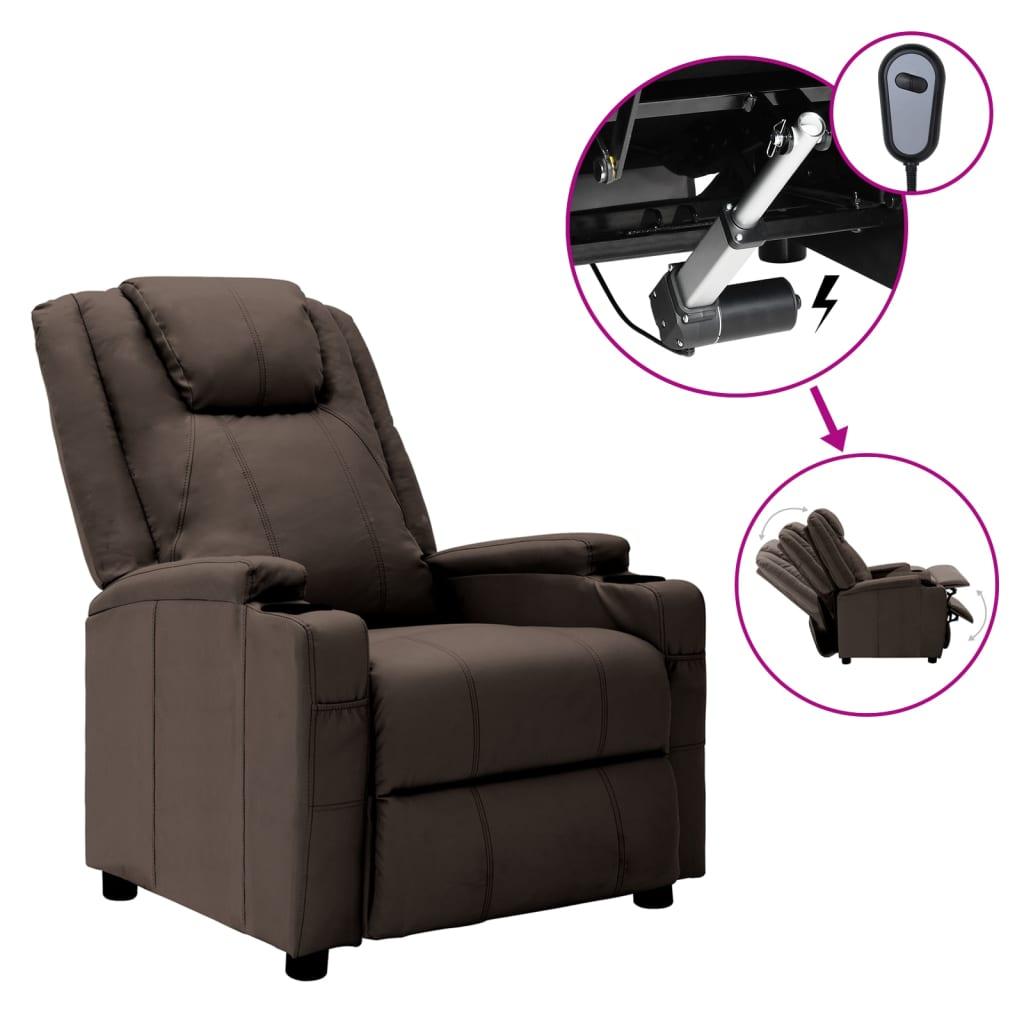 vidaXL Elektrischer Sessel Verstellbar Braun Kunstleder