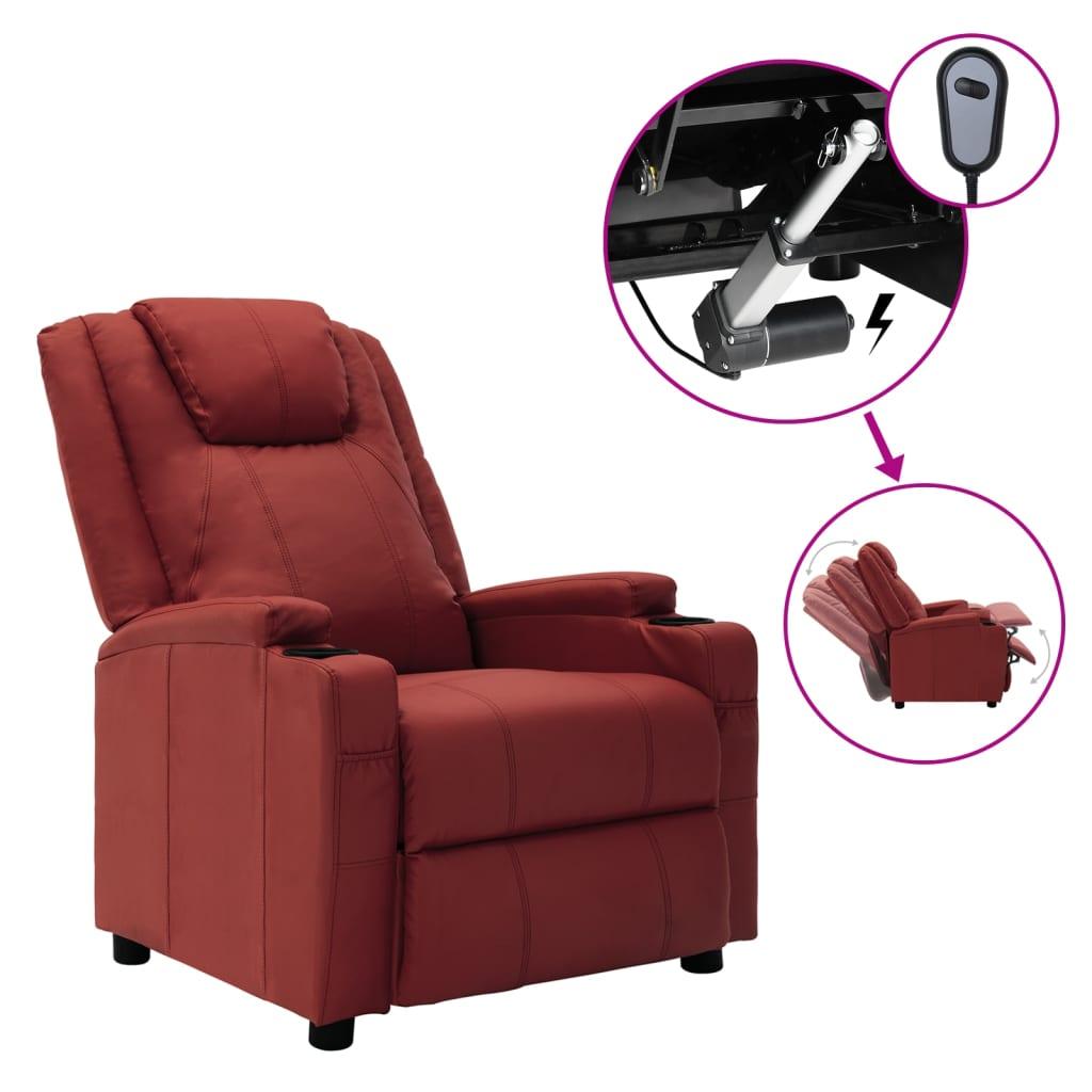 vidaXL Električni naslonjač od umjetne kože crvena boja vina